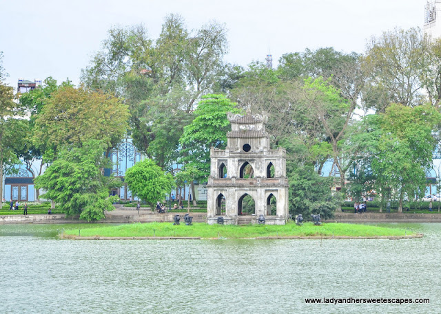 The Turtle Pagoda in  Hoan Kiem Lake