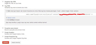 Cara Submit Blog Untuk Google Site Verification
