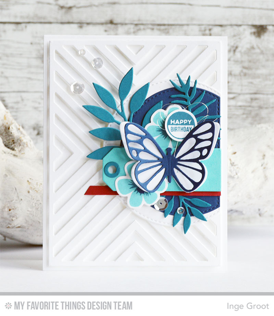 Handmade card fromInge Groot featuring Modern Blooms Stamp Set and Die-namics, Soda Pop Stamp Set, Tag Talk, Flutter of Butterflies - Lace, Flutter of Butterflies - Solid, Four Way Chevron Cover-Up, Bold Greenery, and Stitched Arch STAX Die-namics #mftstamps