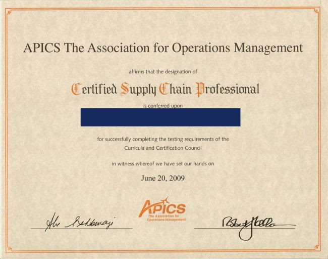 supply certified chain international professional certification cscp job