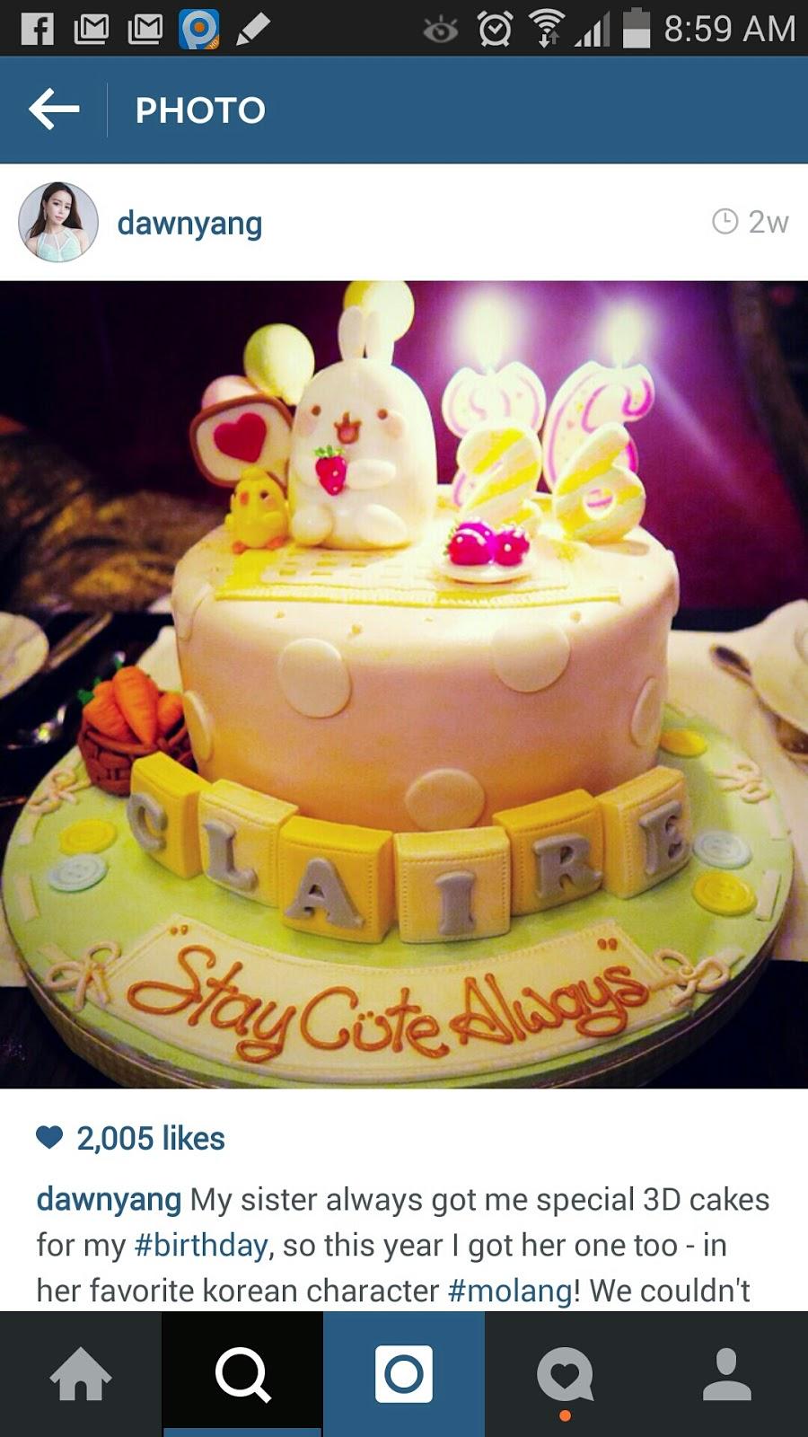 The Sensational Cakes Molang Cake Singapore For