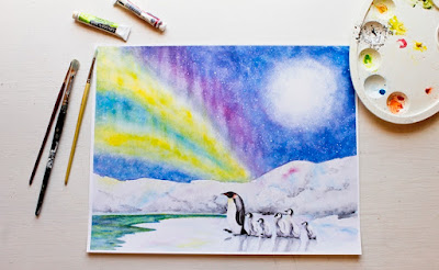 Painting of Emperor penguin with penguin chicks under an arctic night sky with aurora borealis by Kim W. Nolan