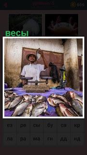 на столе лежит рыба и стоят весы для взвешивания