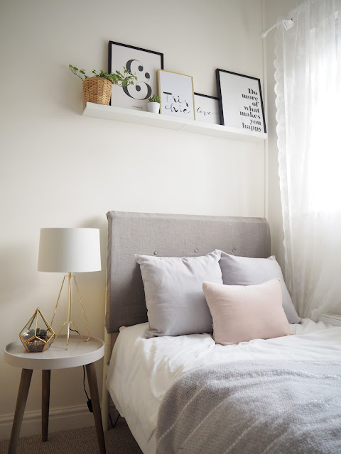 Scandinavian themed bedroom makeover featuring Scandinavian colour palette, diy headboard and budget interior ideas