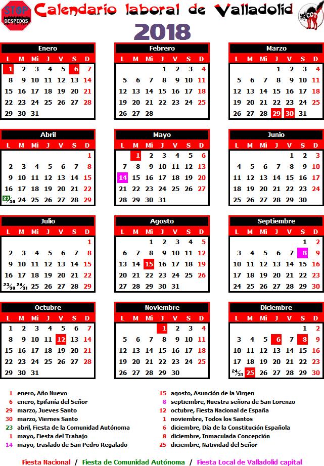Calendario Laboral Valladolid.Gatos Sindicales Valladolid Calendario Laboral 2018 Valladolid