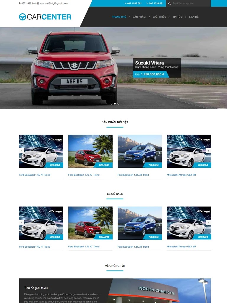 Template blogspot bán ô tô Car Center chuẩn seo