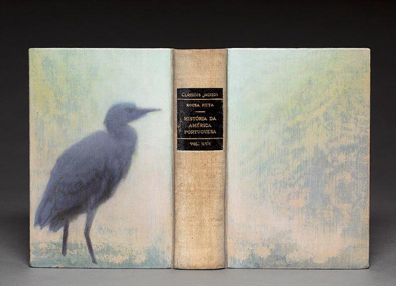 Retratos de aves pintados en libros de segunda mano destacando sus hábitats nativos brasileños en cada página