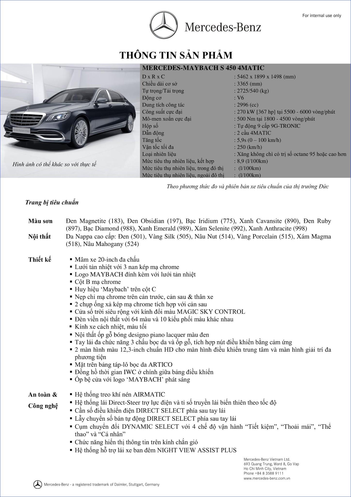 Bảng thông số kỹ thuật Mercedes Maybach S450 4MATIC 2018 tại Mercedes Trường Chinh