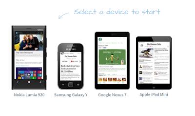 موقع رائع لتجربه  تصفح مدونتك على معظم الهواتف المشهوره وبمعظم القياسات