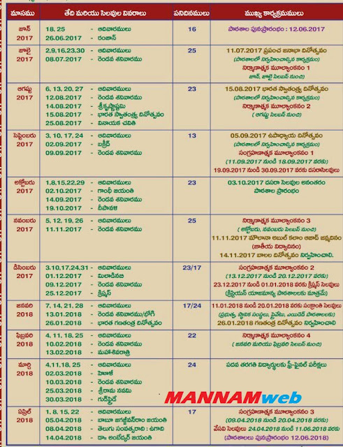 Acadamic Calendar 2017-18 - Exams shedule,Holidays,importantt events
