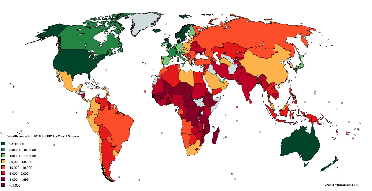 Wealth per adult around the World (2015)
