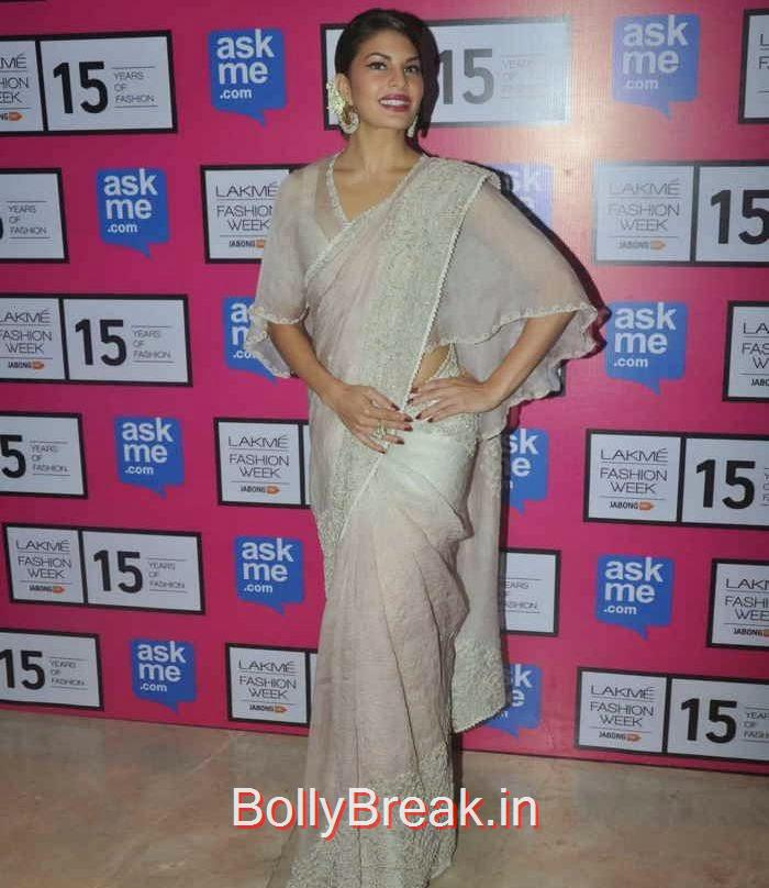 Jacqueline Fernandez Photo Gallery, Jacqueline Fernandez in White Saree at Lakme fashion Week 2015