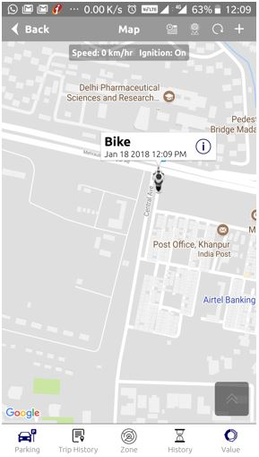 Map view of bike parking lot