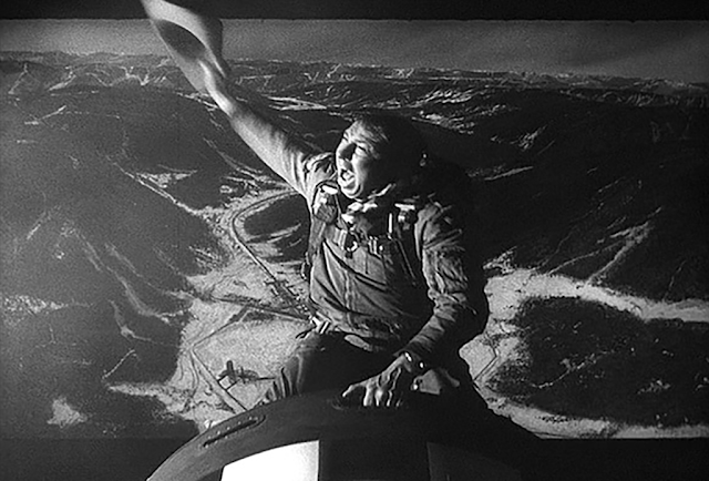 Slim Pickins as Major T.J. Kong in Dr. Strangelove, riding an atomic bomb as it falls to Earth (1964)