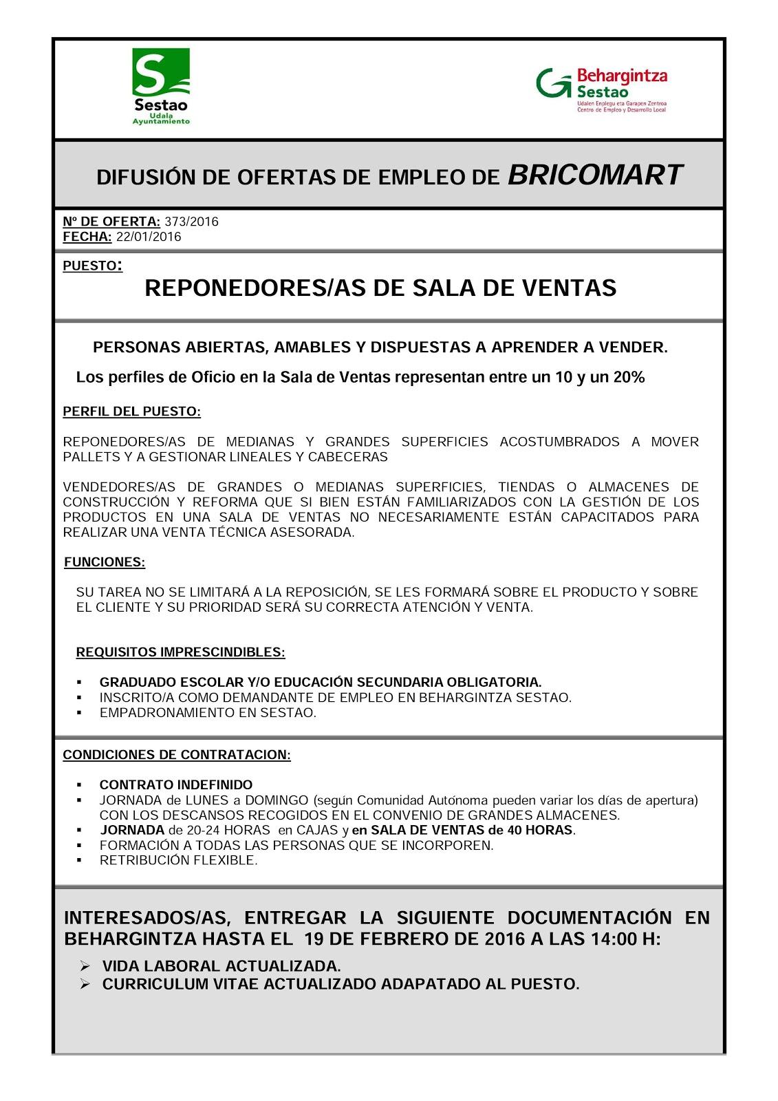 behargintza sestao ofertas de empleo en bricomart sestao