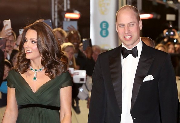 Kate Middleton wore Jenny Packham deep green dress at 71st British Academy of Film and Television Arts award ceremony, stunning jewels