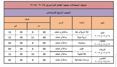جدول امتحانات دمياط 2018 نصف العام الصف الرابع الابتدائي