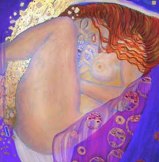 Dánae desnuda y recostada recibe la lluvia de oro de Zeus que engendrará a Perseo