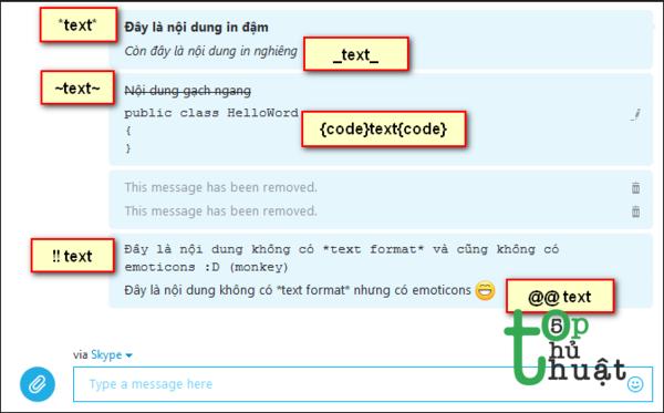 Một số câu lệnh hữu ích dùng trong chat Skype