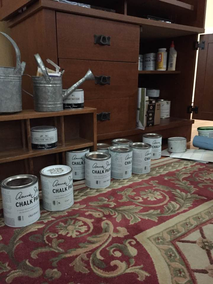 Looking over my stock of paints.