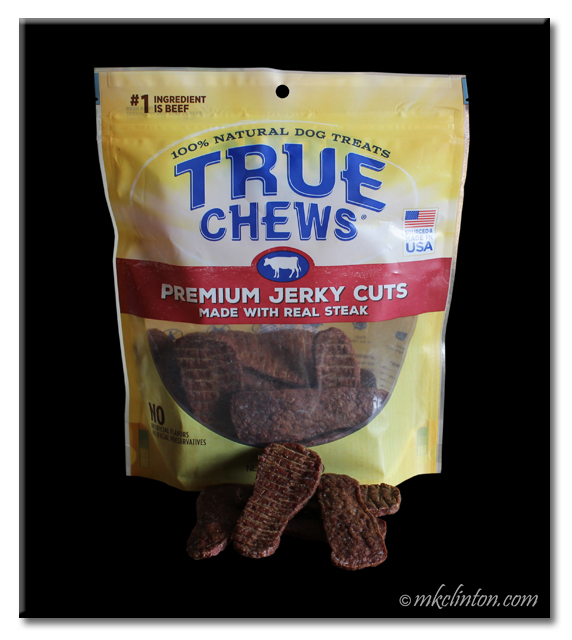 True Chews bag of premium steak jerky for dogs.