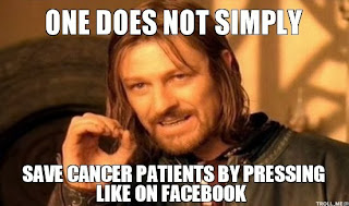 meme: one does not simply save cancer by pressing like button