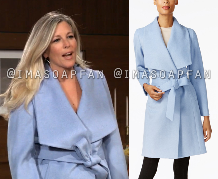 Carly Corinthos, Laura Wright, Light Blue Wrap Coat, General Hospital, GH