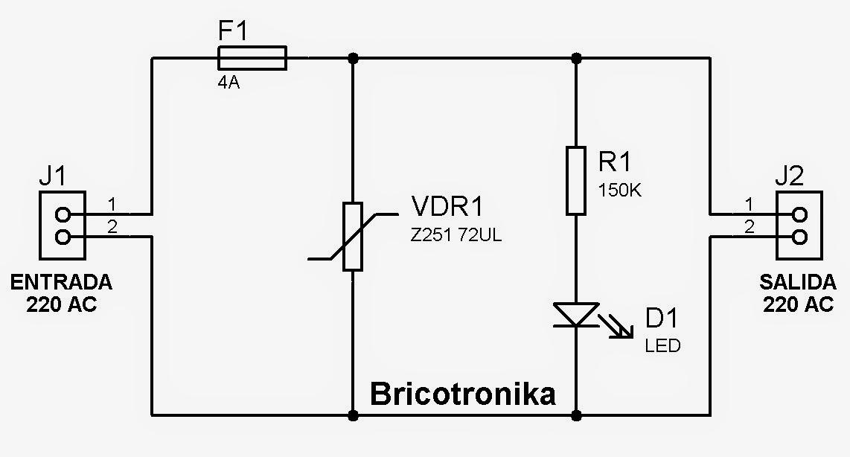 Bricotronika circuito protector contra picos de tensi n for Protector sobretensiones permanentes y transitorias
