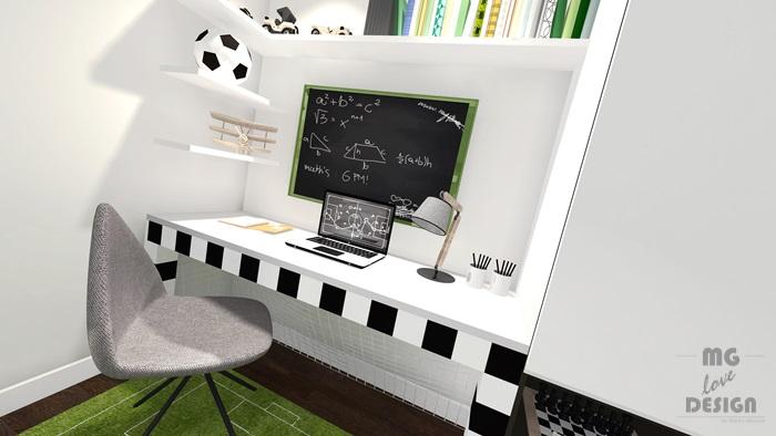 Pokój dla chłopca - piłka nożna - architekt wnętrz Nysa Głuchołazy