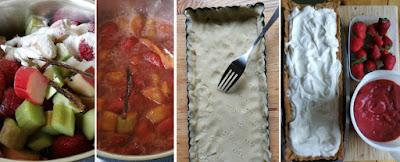 Zubereitung Frühsommerliche Tarte mit Schmand, Erdbeeren und Rhabarber