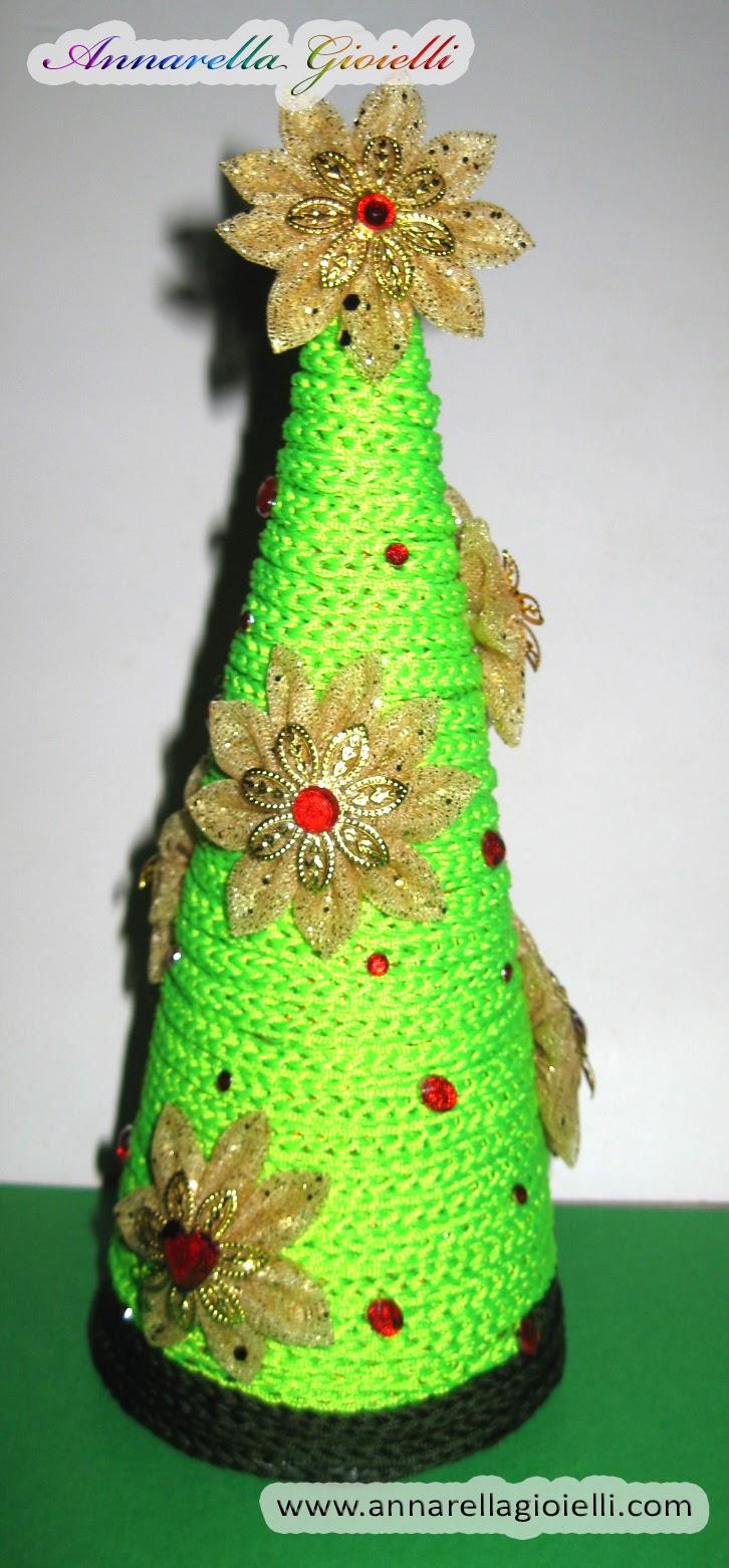 Albero Di Natale Kanzashi.Annarella Gioielli Albero Di Natale Con Il Tricotin E Kanzashi