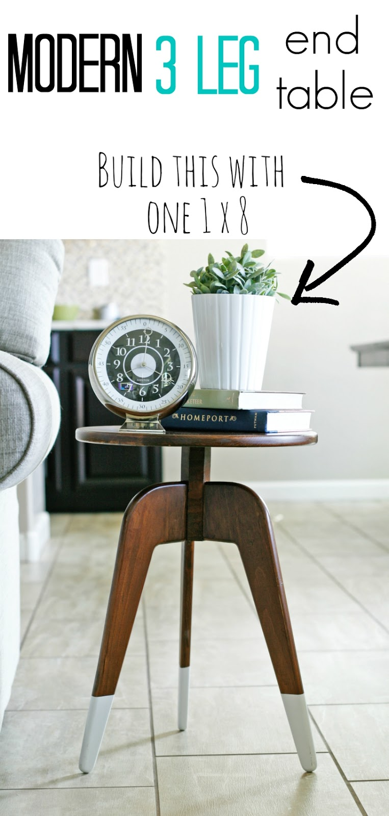 Modern 3 Leg End Table One Board Challenge Pneumatic Addict