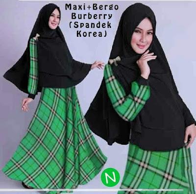 Jual Plus Jilbab / Kerudung Maxi Dress Bergo Burberry - 12336