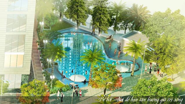 Bể bơi ngoài trời tại chung cư Lộc ninh.