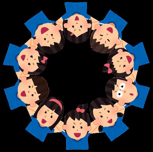 円陣を組むスポーツ選手のイラスト(女性)