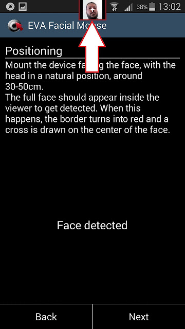 Control Your Android Device with Your Head eva facial mouse