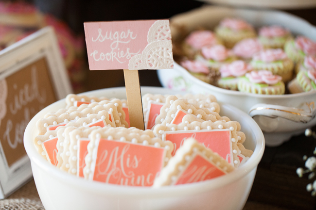 sugar cookies, cookie bar, hand lettered signs for cookie bar, lace