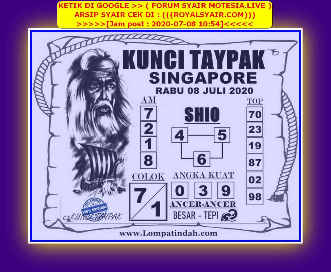 Kode syair Singapore Rabu 8 Juli 2020 39