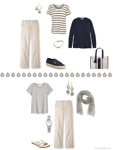 2 ways to wear beige pants with navy or with warm grey