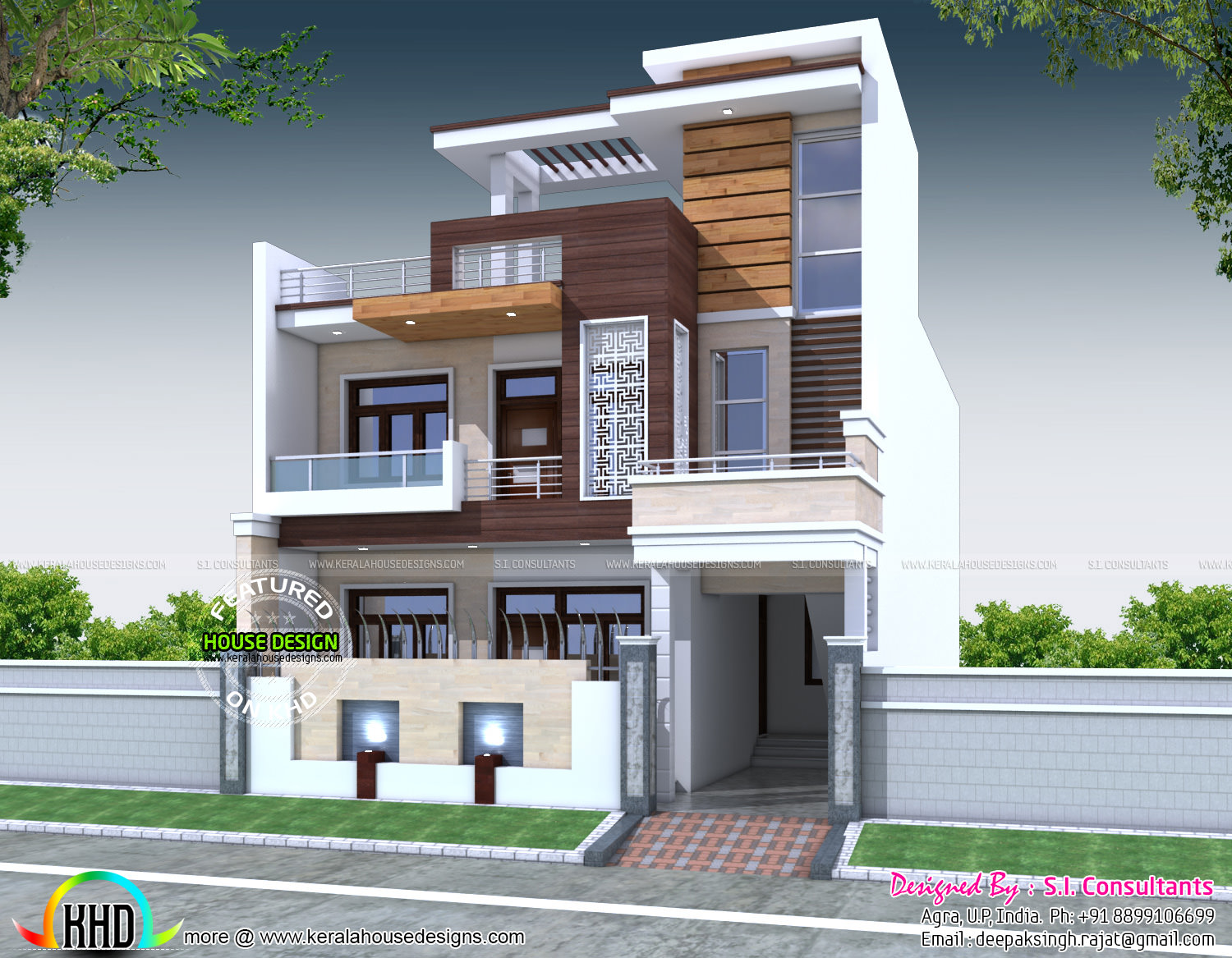Decorative 5 bedroom house architecture kerala home for Contemporary indian house elevations