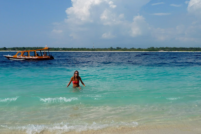 A quick swim in the sea at Gili Trawangan Indonesia