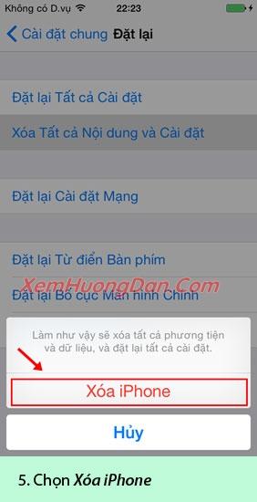 Huong dan xoa du lieu dien thoai iphone