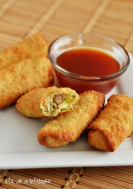 Chicken egg rolls are filled with seasoned ground chicken, fresh minced garlic and ginger, cabbage and carrots. Life-in-the-Lofthouse.com