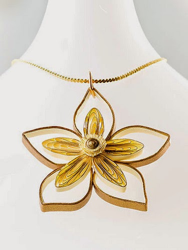 Double Flower Necklace - paper jewelry by Ann Martin