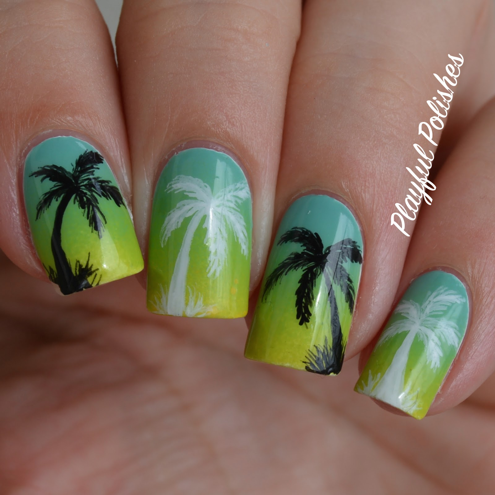 Hand Painted Nail Art Simple: Playful Polishes: GRADIENT PALM TREE NAIL ART
