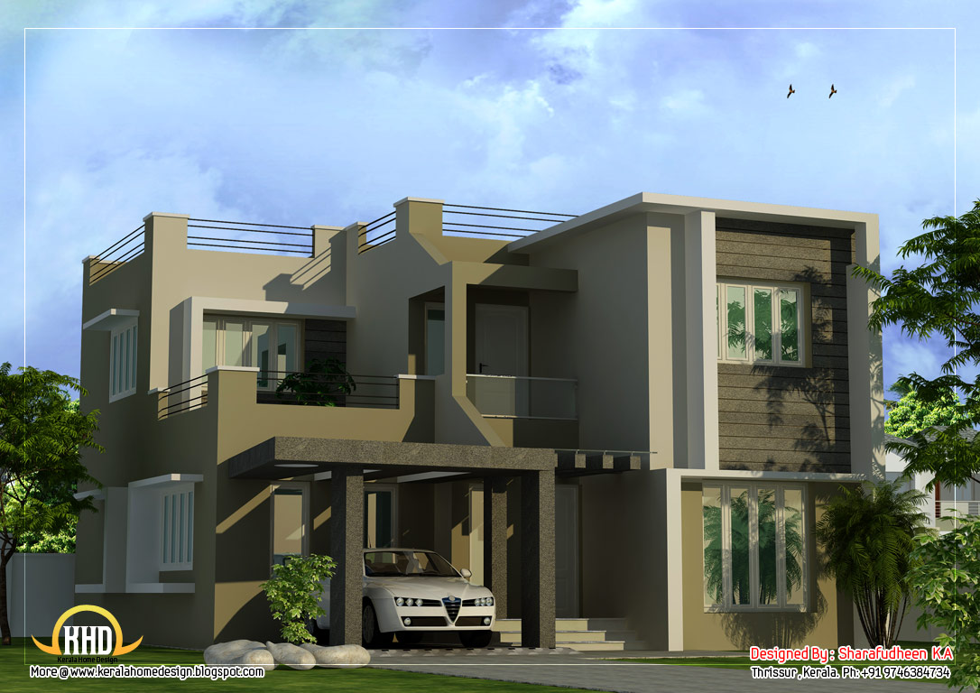 Modern duplex home design 1873 sq ft kerala home for Modern kerala style house plans with photos