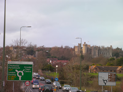 arundel causeway with a27 roundabout sign to portsmouth