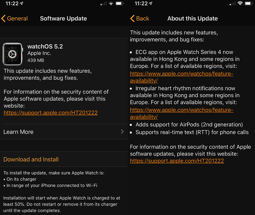 Apple watchOS 5.2 Final Features Changelog