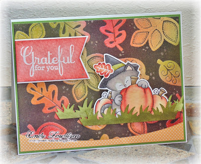 Grateful Fall Card by Emily Lauritzen | Newton's Perfect Pumpkin Stamp set by Newton's Nook Designs #newtonsnook
