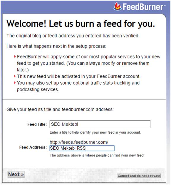 Yeni Google Feedburner Üye Olma ve Eposta Adresi Alma